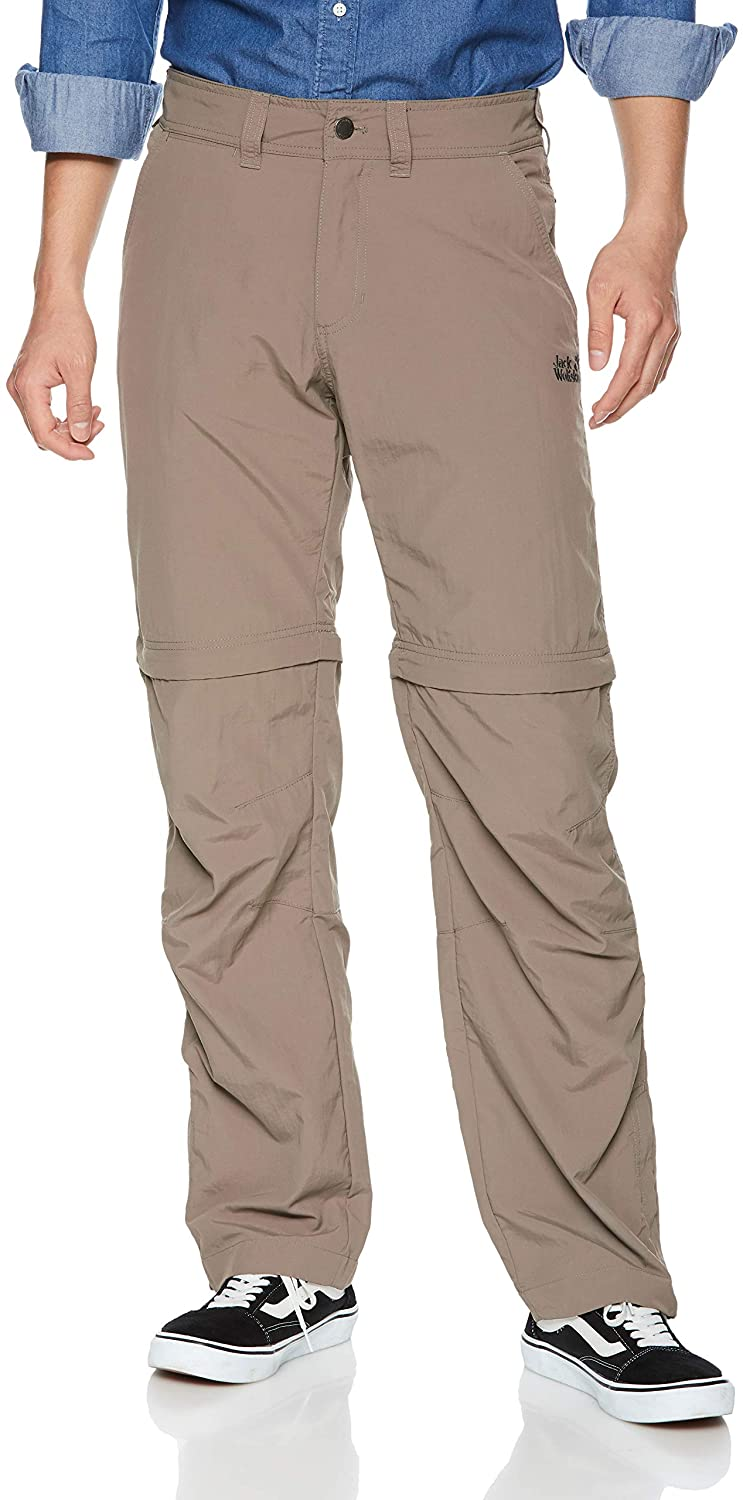 Jack Wolfskin Men's Canyon Zip Off Pants Men's Nylon Travel Pants UV Protection, siltstone, 26 (U Small 35/31)