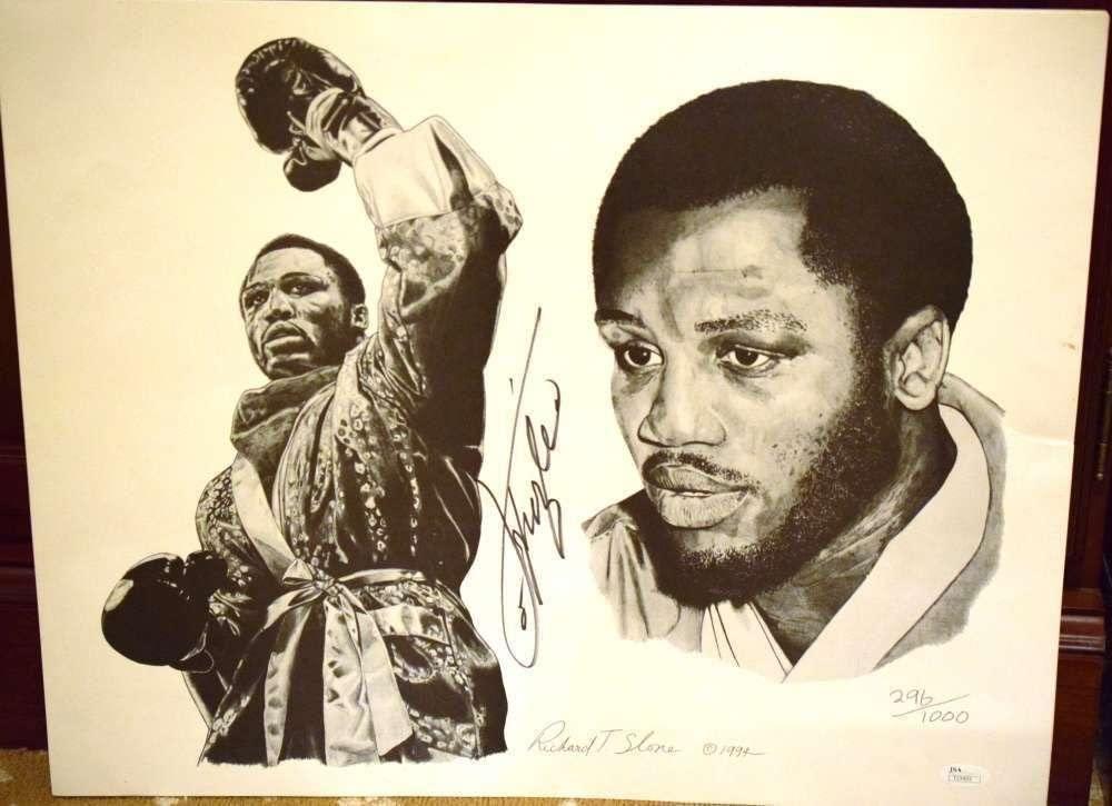 Joe Frazier Coa Autographed 14x20 Litho Photo Authentic Signed - JSA Certified - Autographed Boxing Art