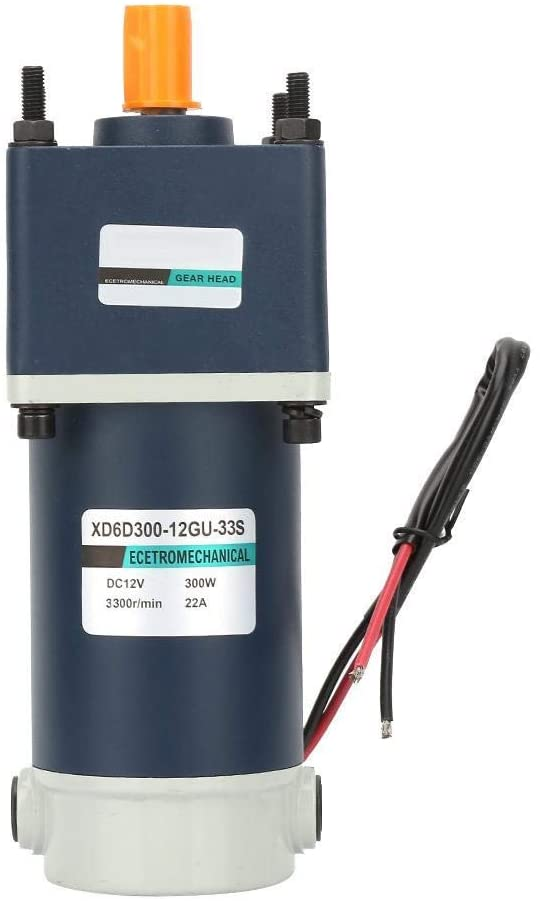 ZH-Wang 12V 300W DC Geared Motor,15mm Shaft High Torsion Permanent Magnet DC Geared Metal Gear Reducer Motor(200rpm)