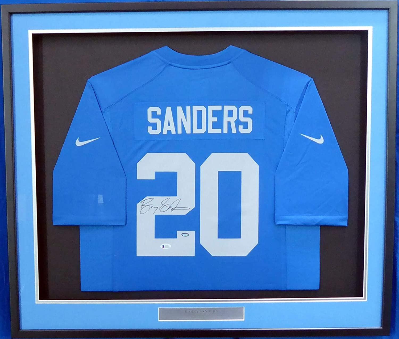 Signed Barry Sanders Jersey - Framed Blue Nike Beckett BAS Stock #162419 - Beckett Authentication - Autographed NFL Jerseys