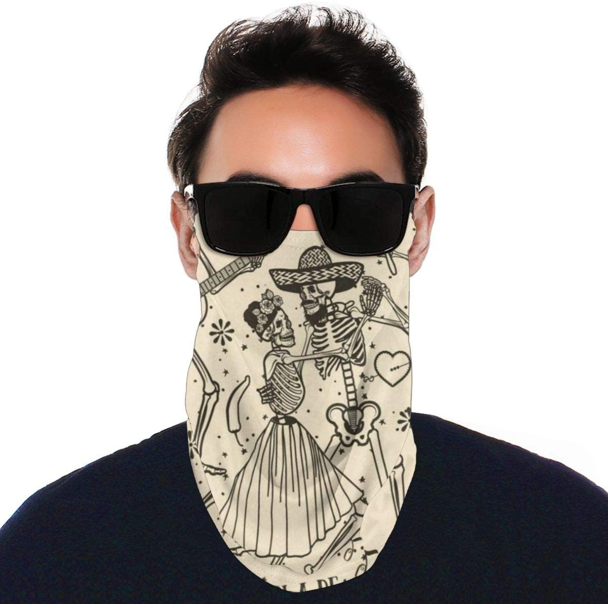 N\ A Summer Uv Balaclava Loop Face Mask Vintage Happy Halloween Skull Skeletons Large Earloop Sun Protection Neck Gaiter Face Mask Cover Bandanas for Men Women Adults