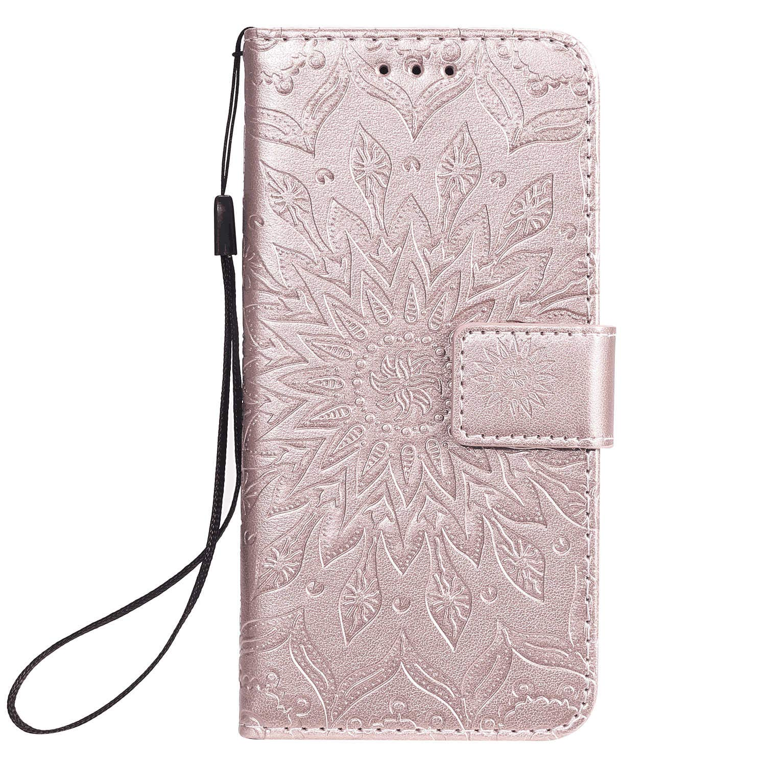 Leather Flip Case Fit for Samsung Galaxy S20, Rose Gold Wallet Cover for Samsung Galaxy S20