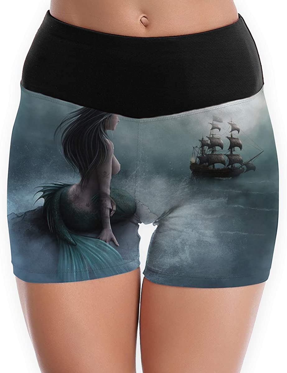 Womens Yoga Shorts Pants Sea Mermaid Sailing Ship High Waist Stretch Leggings