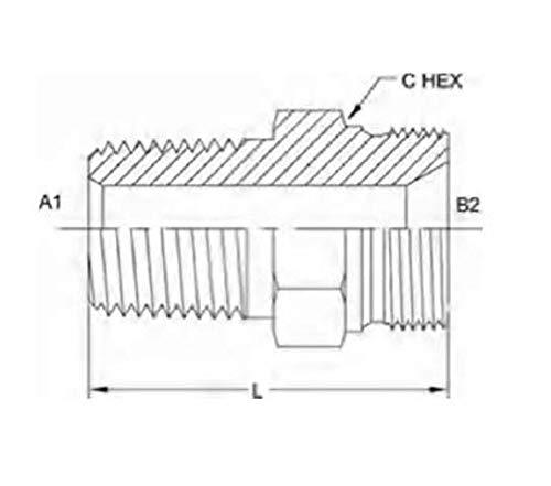Brennan Industries 7032-06-04 Steel Straight Nipple Conversion Adapter Fitting, 3/8