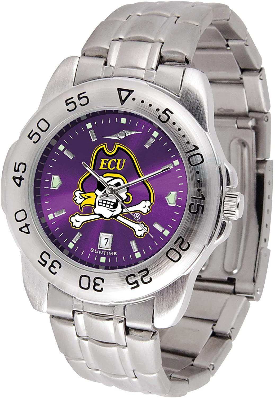 SunTime East Carolina Pirates Sport Steel Band Ano-Chrome Men's Watch