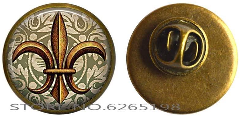 Antique Gold Fleur de Lis Pin, Fleur de Lis Brooch, Fleur de Lis Jewelry French Jewelry New Orleans Pin,N349