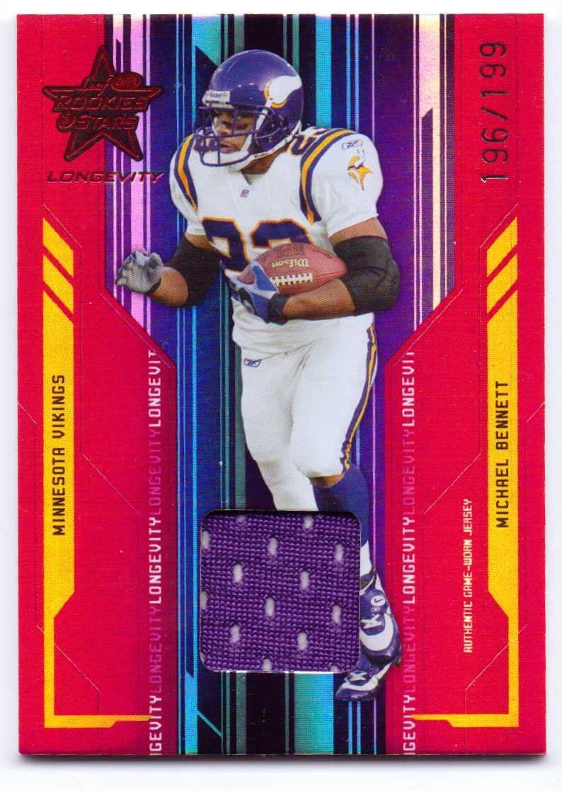 Michael Bennett 2005 Leaf Rookies & Stars Longevity Materials Ruby Authentic Game Worn Jersey #53 - 196/199 - Minnesota Vikings
