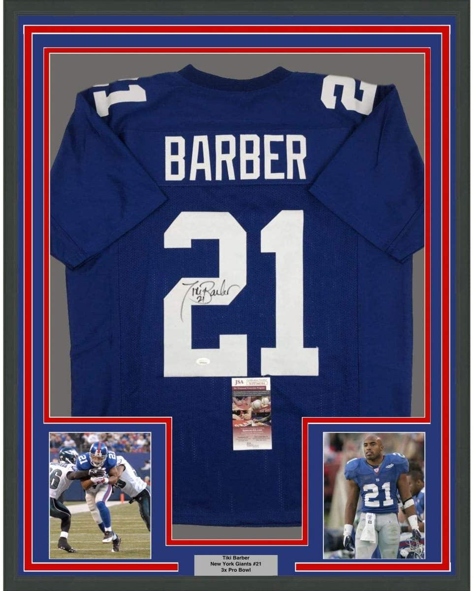 Framed Autographed/Signed Tiki Barber 33x42 New York Blue Football Jersey JSA COA