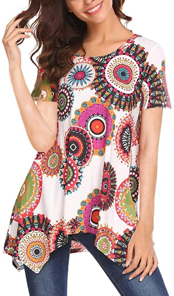 Dressffe Women Blouse Short Sleeve Floral Print Loose Fit Tunic Tops