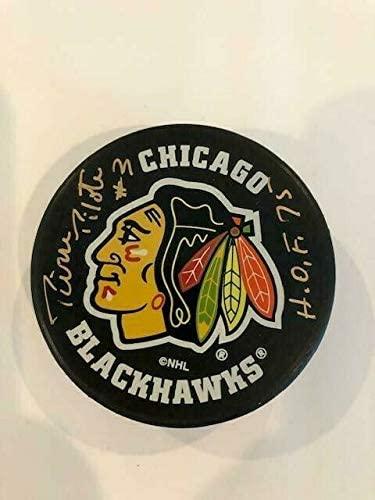 Pierre Pilote Autographed Signed HOF 75#3 Autographed Puck JSA# S69423 Chicago Blackhawks