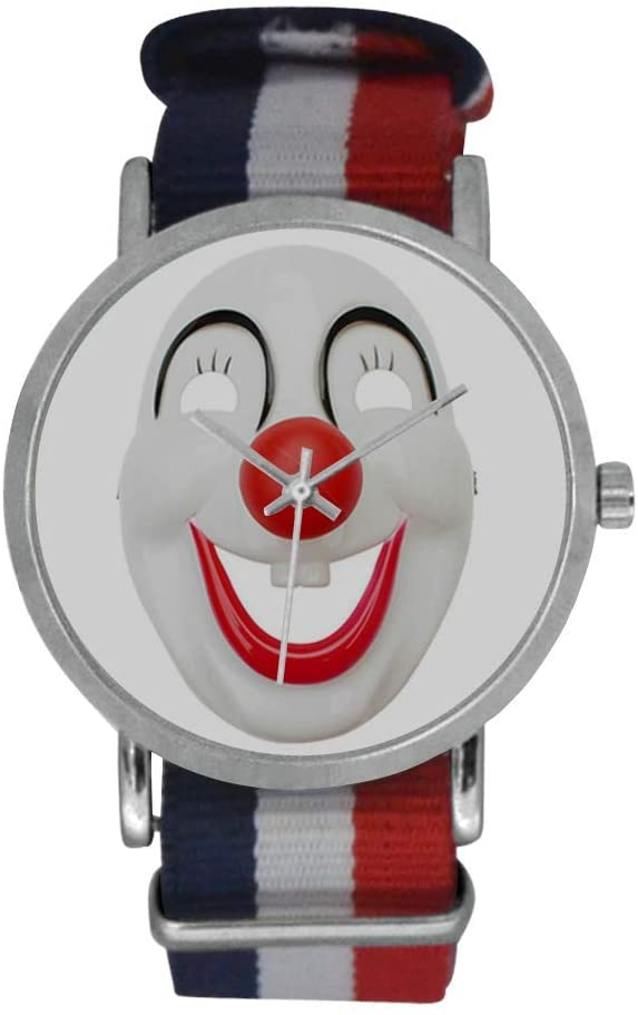 QUICKMUGS2U Smiling Mystery Clown Men's Stainless Steel Classic Large Face Quartz Analog Business Wrist Watch Striped Nylon Band