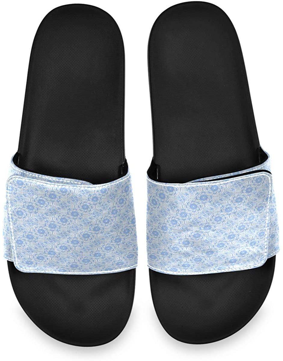 Chic Blue Elegant Floral Flower Mens Summer Sandals Slide House Adjustable Slippers Non Skid Boys