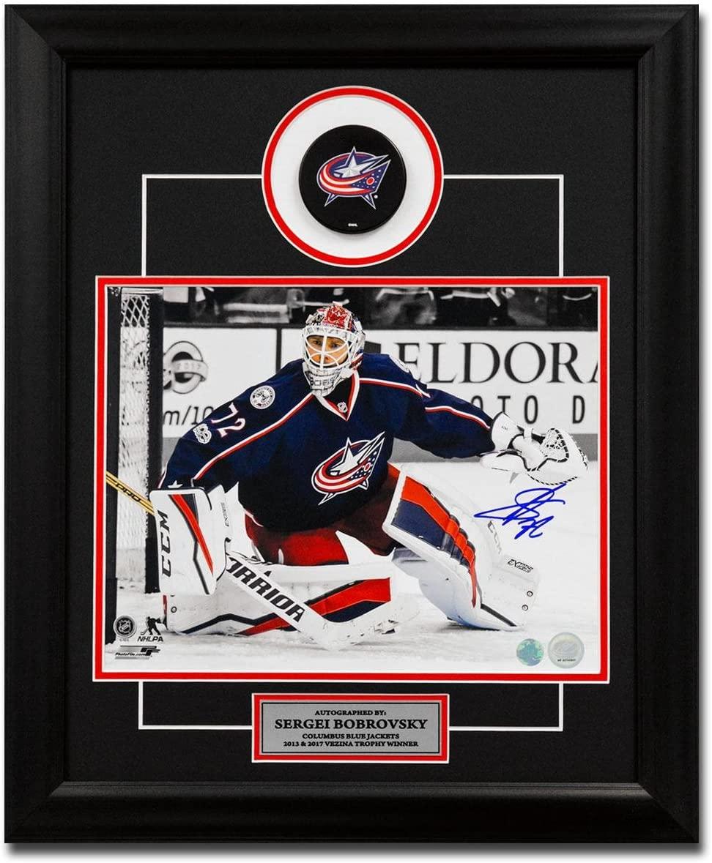 Sergei Bobrovsky Autographed Puck - Spotlight 23x19 Frame - Autographed NHL Pucks