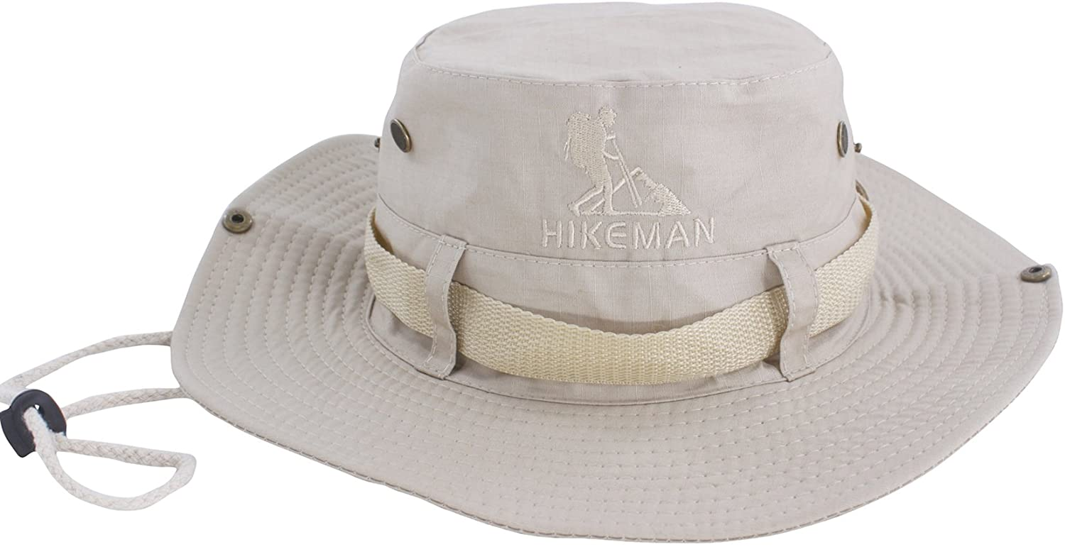 Hikeman Fishing Hat and Safari Cap Wide Brim Boonie Hat Bucket Hats with Sun Protection for Big Head Men and Women