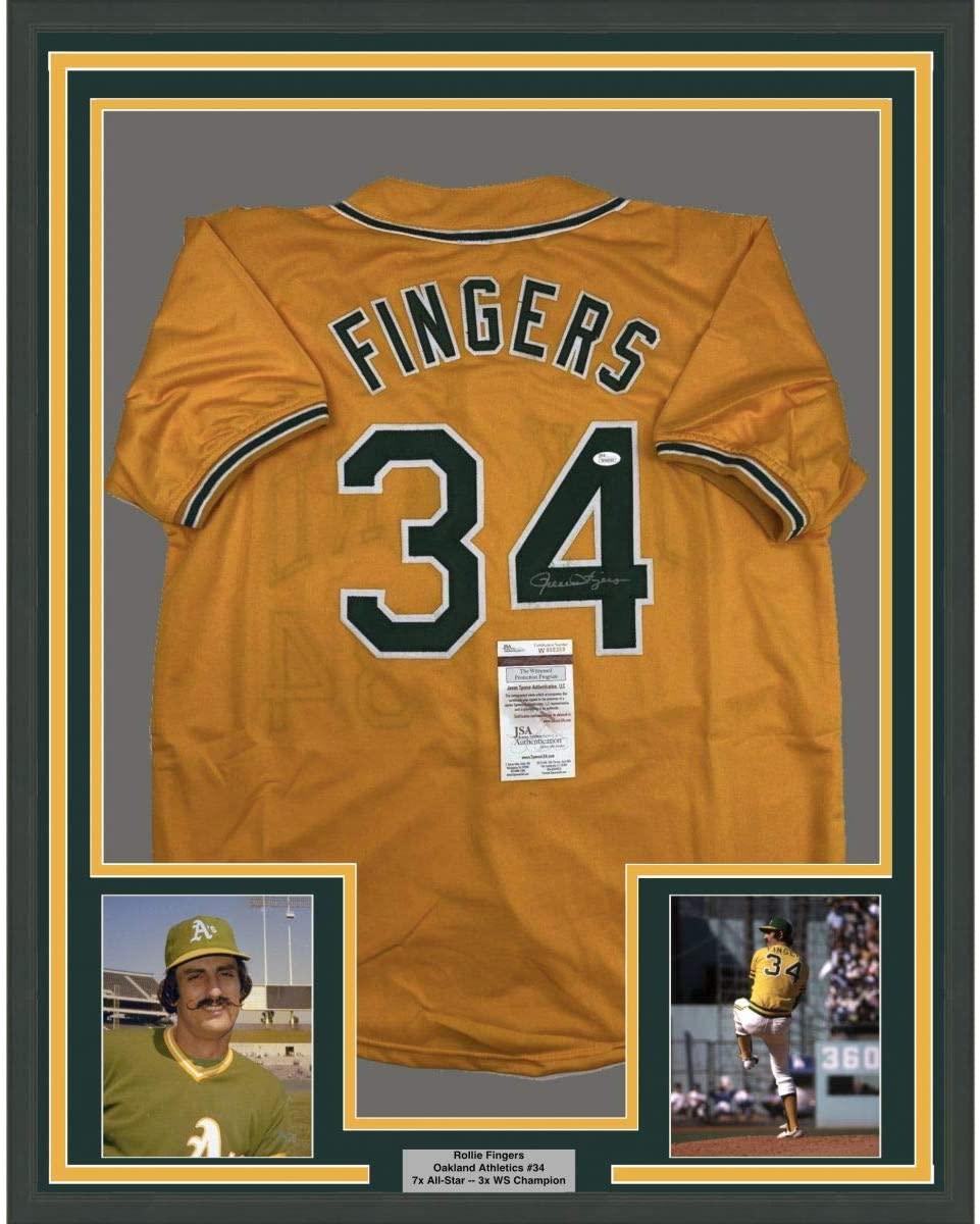 Framed Autographed/Signed Rollie Fingers 33x42 Oakland Yellow Baseball Jersey JSA COA