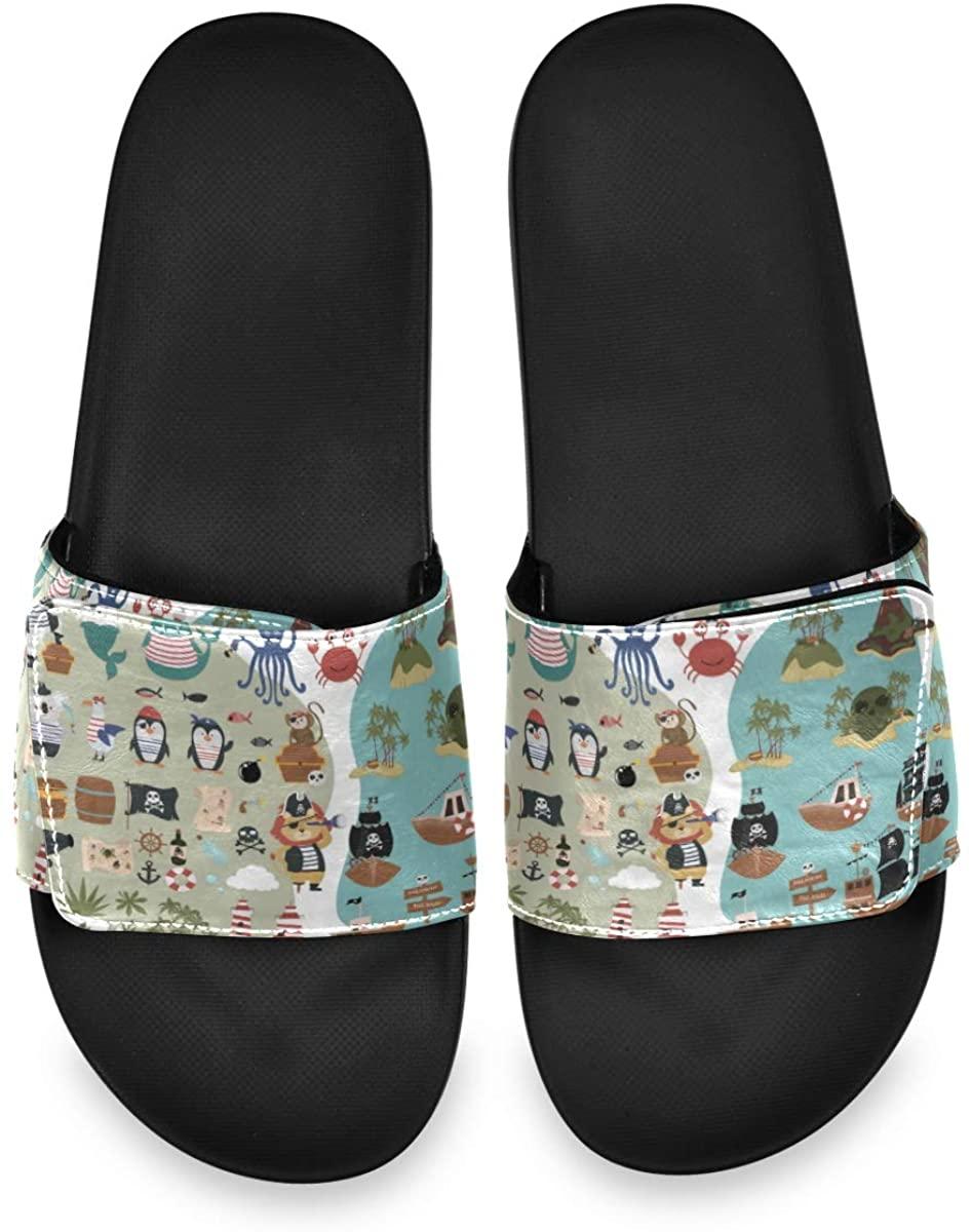 Funny Animal Characters Mens Summer Sandals Slide House Adjustable Slippers Slip On Boys