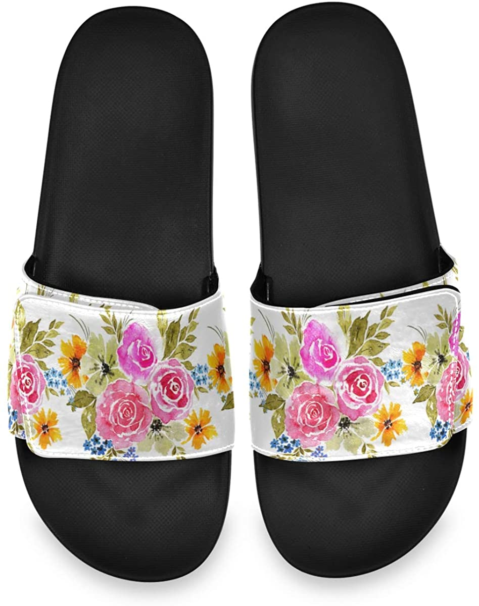 Magnificent Pink Flowers Love Mens Summer Sandals Slide House Adjustable Slippers Casual Boys