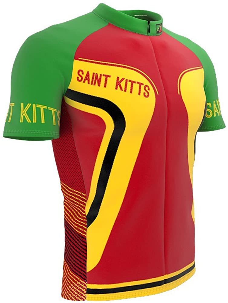 ScudoPro Saint Kitts and Nevis Full Zipper Bike Short Sleeve Cycling Jersey for Men