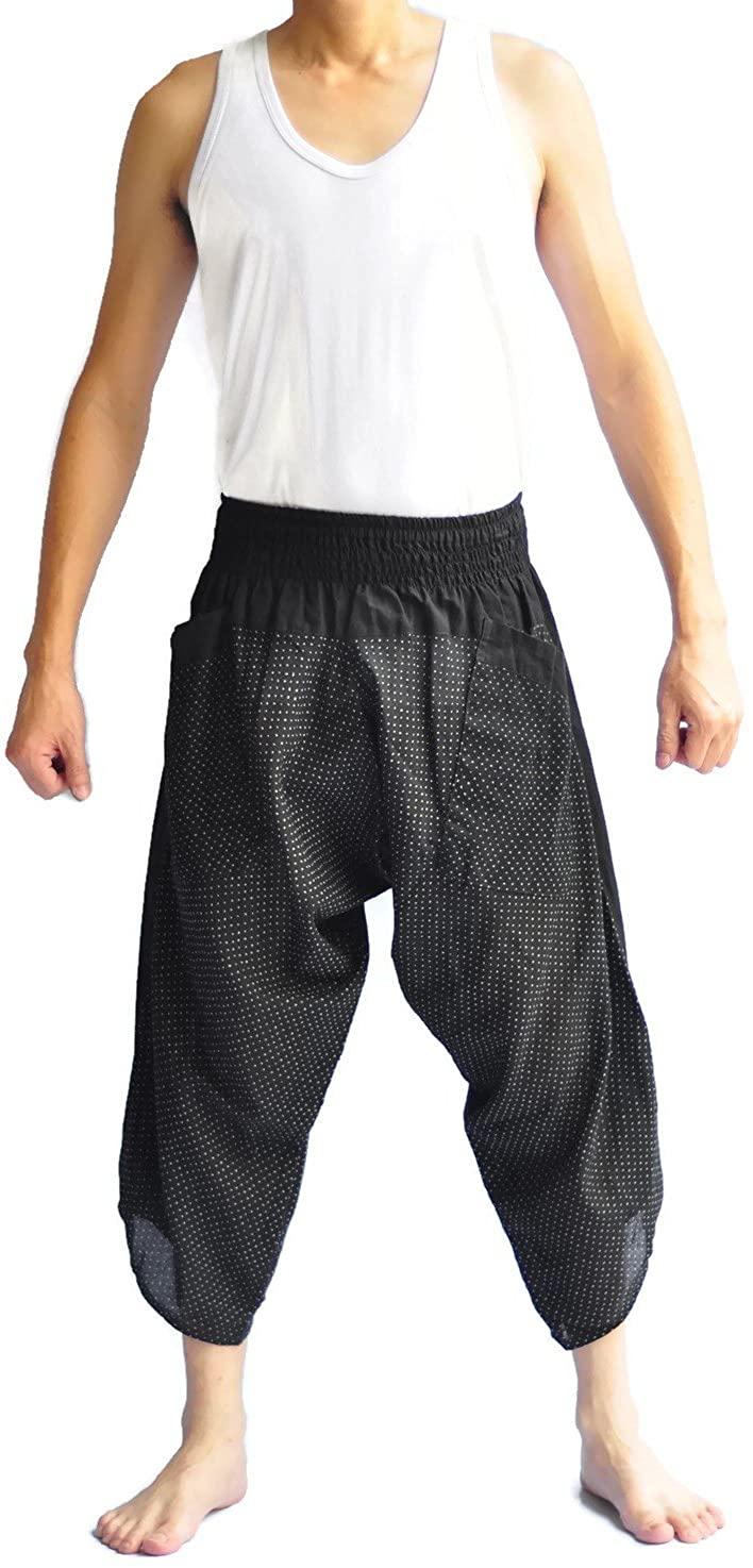 Unisex Tone Thai Fisherman Pants Yoga Trousers Free Size Cotton Black