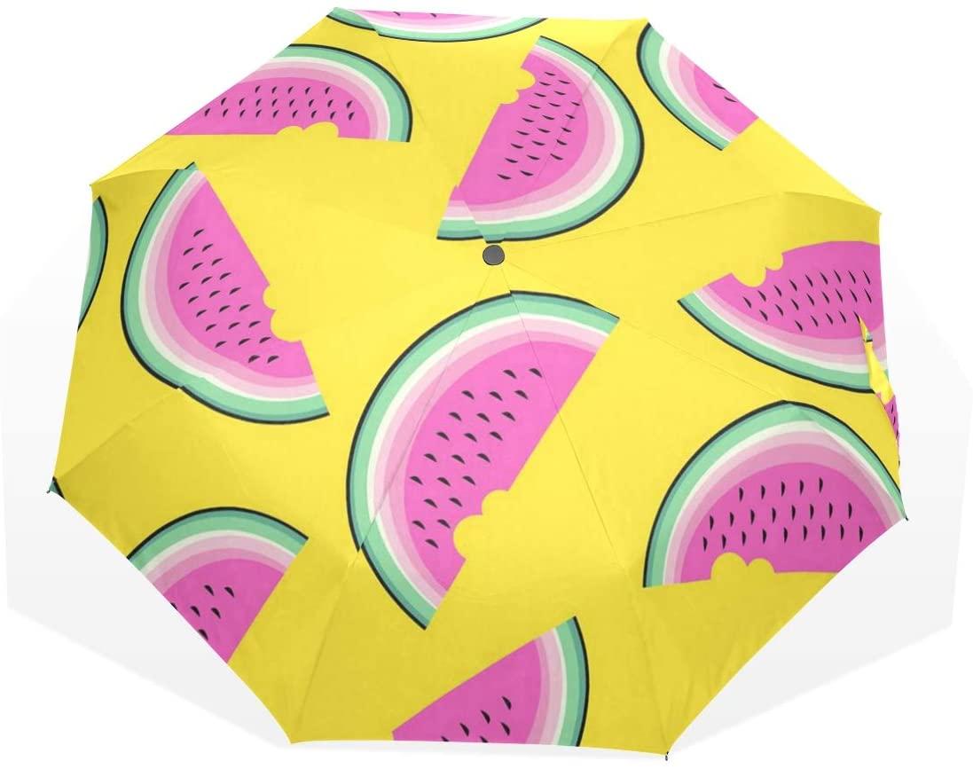 HangWang Umbrella Watermelon Purple Travel Golf Sun Rain Windproof Umbrellas with UV Protection for Kids Girls Boys