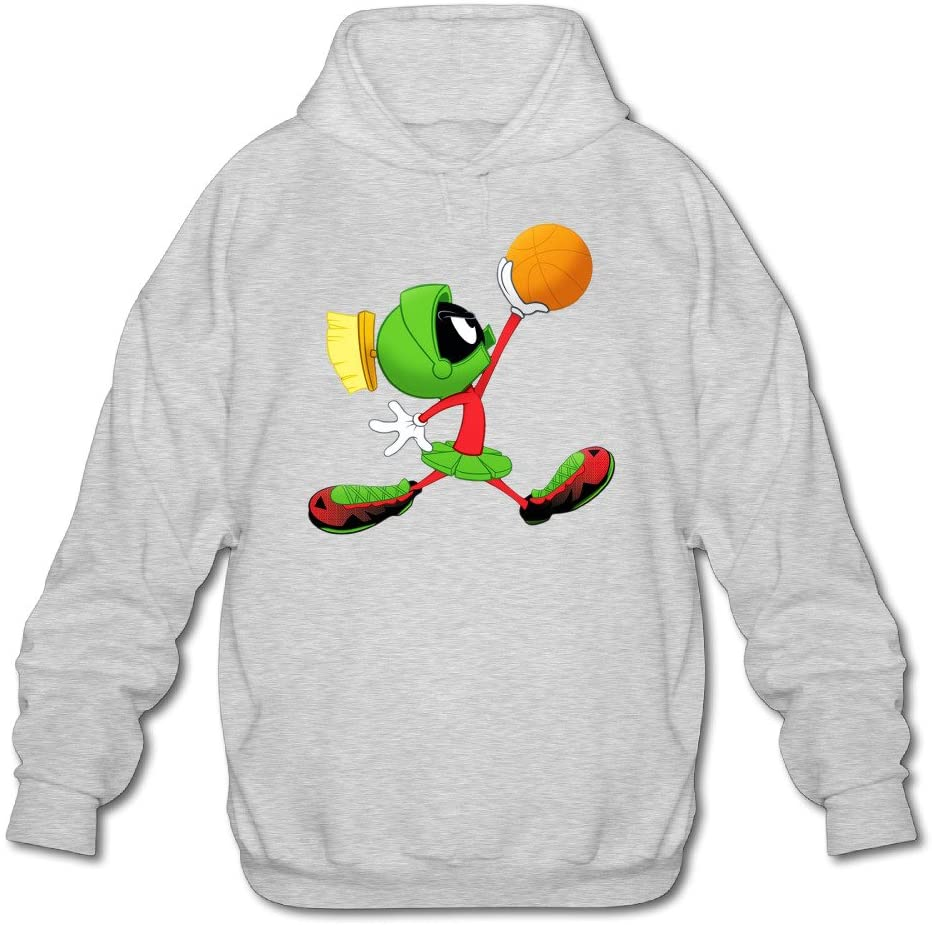 Jirushi Men's Marvin The Play Martian Basketball Poster Hooded Sweatshirt Ash