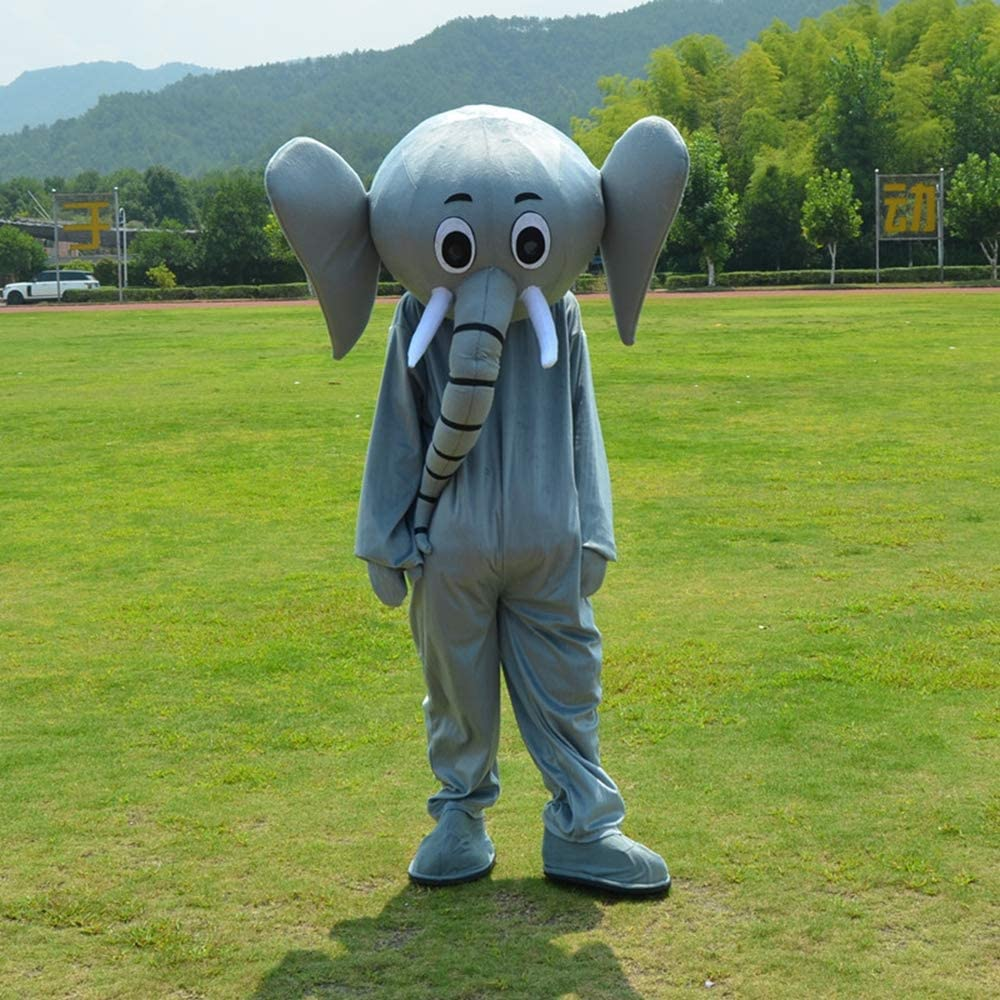 GUAITAI Grey Elephant Mascot Costume Party Fancy Dress Halloween Cosplay Costume