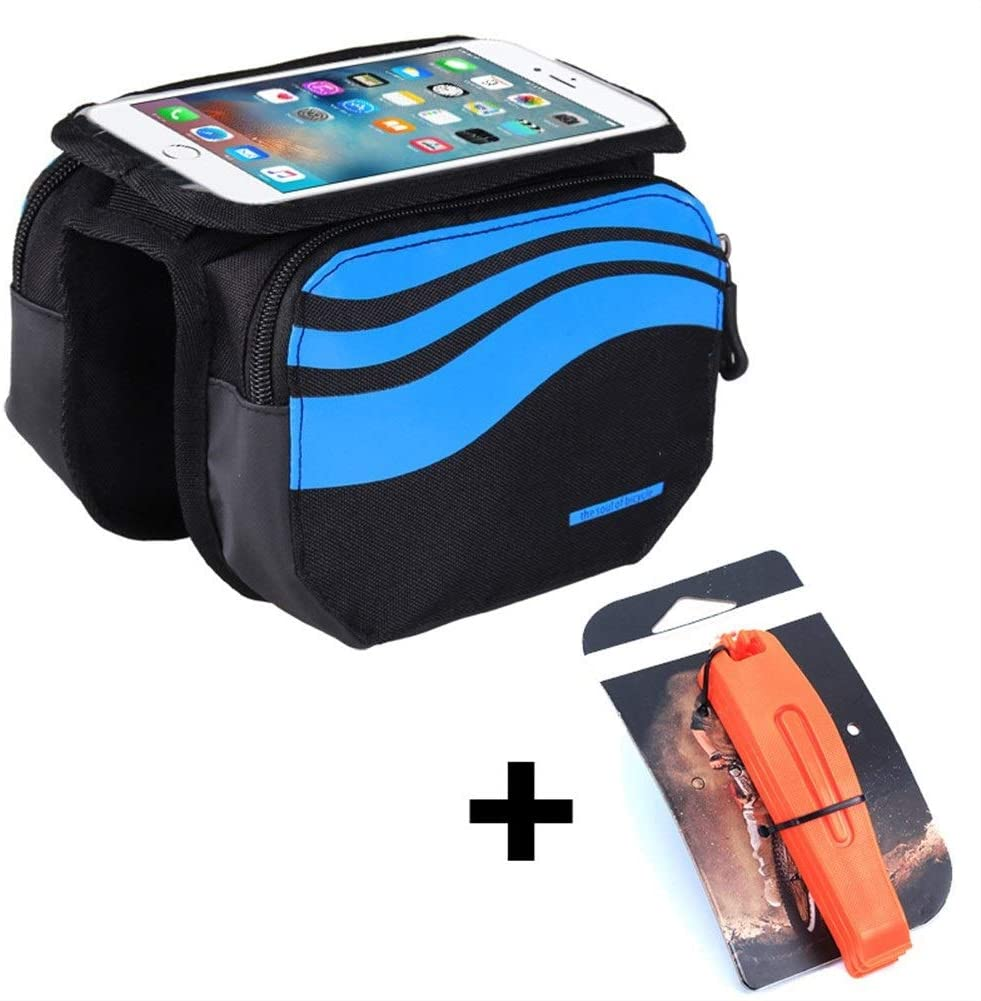 WZH 5.7 Inches Bike Frame Front Bag Bicycle Cycling Riding Bag Pannier Smartphone & GPS Touch Screen Case Bicycle Accessories (Color : Blue and Lever, Size : for 5.7 inch Phone)