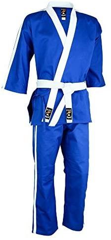 Playwell Martial Arts Striped Team Free Style Demo/Club Uniform - (Blue With 2 White Stripes Set)