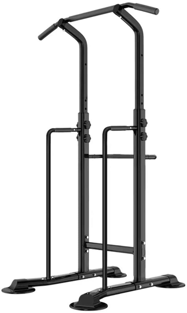 Fitness equipment Pull-up Bars Free Standing Stand Dip Station Power Tower Pull-up Bar Strength Training for Home Gym 990 Weight Capacity (Size : B-Black)