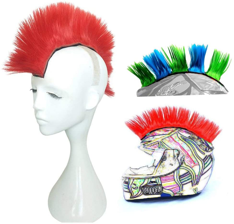 3T-SISTER Helmet Mohawk Wig Adhesive Mohawk for Motorcycle Bicycle Ski Snowboard Helmet Hair Patches Skinhead Costumes Wig Cosplay Wig
