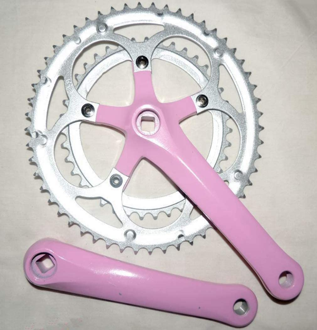 WSWJQY Bicycle Gear Wheel Single Speed Crankset Set 52t 170mm Crankarms 870g Folding Bike Crankset with Protective Cover for Single Speed Bike,(Pink)