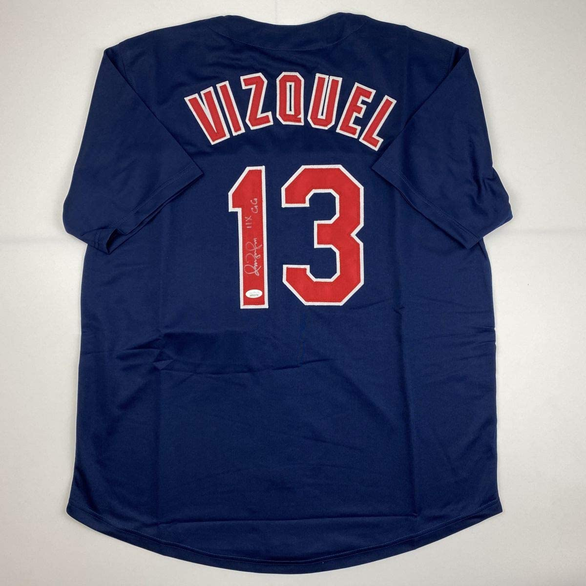 Autographed/Signed Omar Vizquel 11x GG Cleveland Blue Baseball Jersey JSA COA