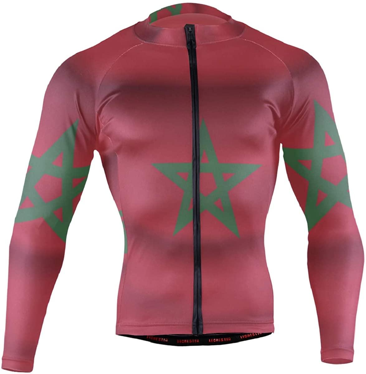 Morocco Flag Mens Cycling Jerseys Biking Shirts Long Sleeve Bike Clothing Full Zipper Bicycle Jacket