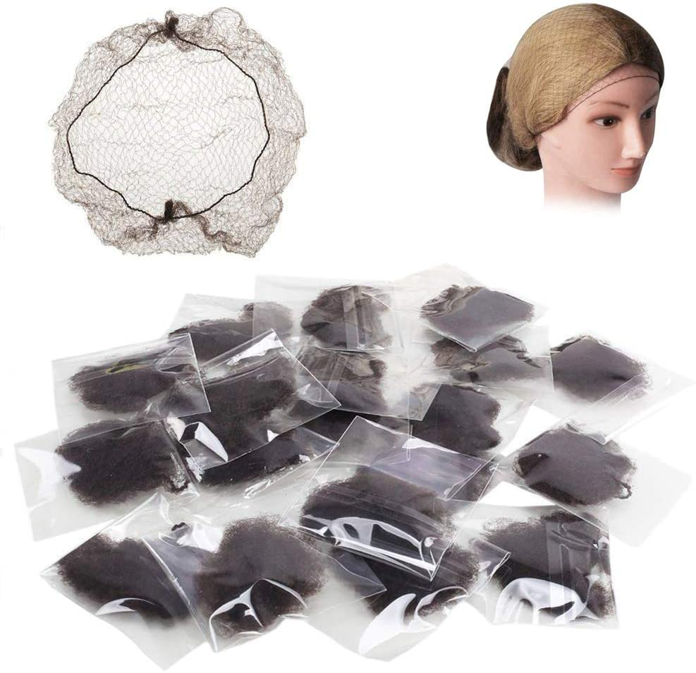 FJSM Hair Nets Invisible Mesh Hair Bun Net Cover Hair Weaving Bulk Net 50cm Elastic Edge Hairnets for Cooking Ballet Dance Horseriding (Coffee 20pcs)