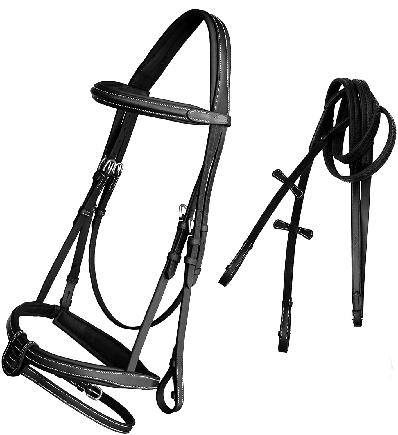 ExionPro Comfort Soft Lined Mono Crown Snaffle Bridle with U Shape Detachable Flash Snaffle Horse English Bridle & Rubber Reins. | English Horse Tack | English Bridles for Horses - Bridle and Reins