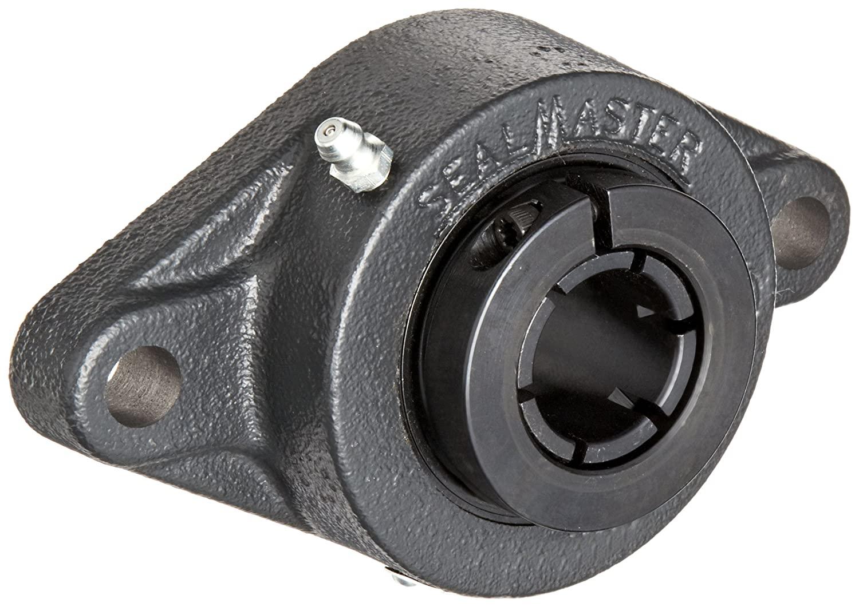 Sealmaster MSFT-20TC Medium Duty Flange Unit, 2 Bolt, Regreasable, Contact Seals, Skwezloc Collar, Cast Iron Housing, 1-1/4