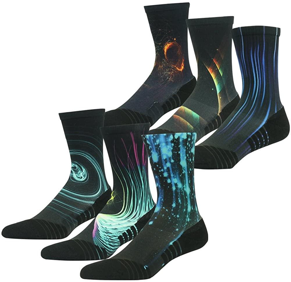HUSO Unisex Fashion Digital Printing Sports Crew Hiking Socks 6, 7 Pairs
