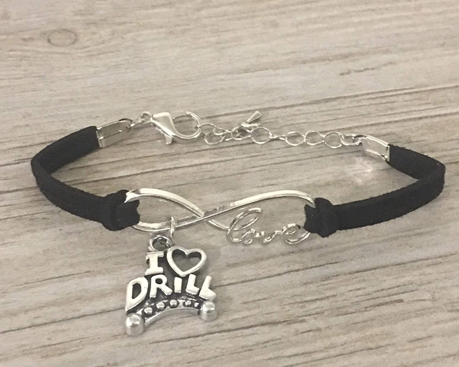 Sportybella Drill Team Charm Bracelet- Dance Drill Team Jewelry - Black Drill Charm Bracelet- Gift for Drill Team Girls