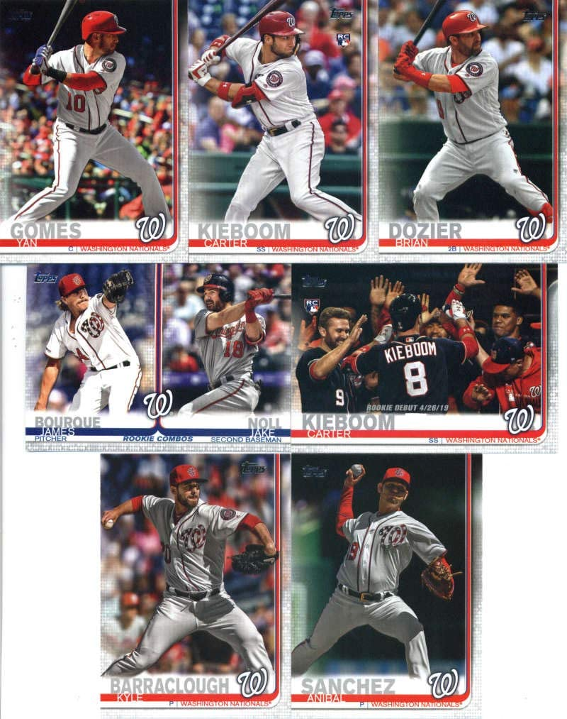 2019 Topps Update Baseball Washington Nationals Team Set of 7 Cards: Kyle Barraclough(#US60), Carter Kieboom(#US109), Brian Dozier(#US158), Anibal Sanchez(#US176), Carter Kieboom(#US208), Jake Noll/James Bourque(#US210), Yan Gomes(#US280)