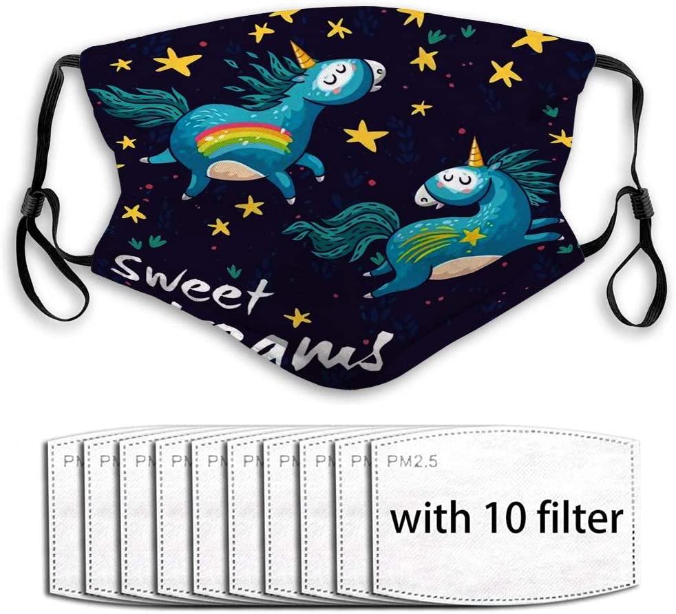 YILINGER Reusable Washable Mask Earloop (10 Filter) Unicorns Rainbow Stars Decor Elements and Text Sweet Dreams