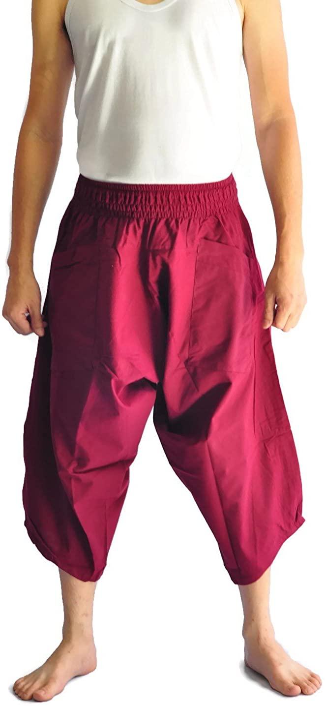 Siam Trendy Men's Japanese Style Pants Fisherman Pants Design (Red)