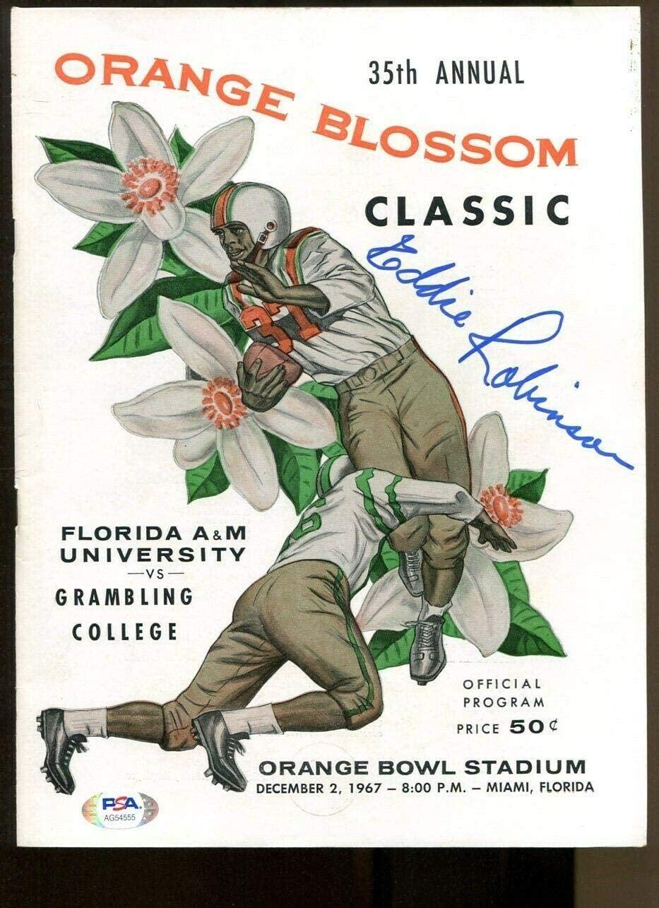 Eddie Robinson Signed 1967 Orange Blossom Classic Program Autograph NMT - PSA/DNA Certified - Autographed MLB Magazines