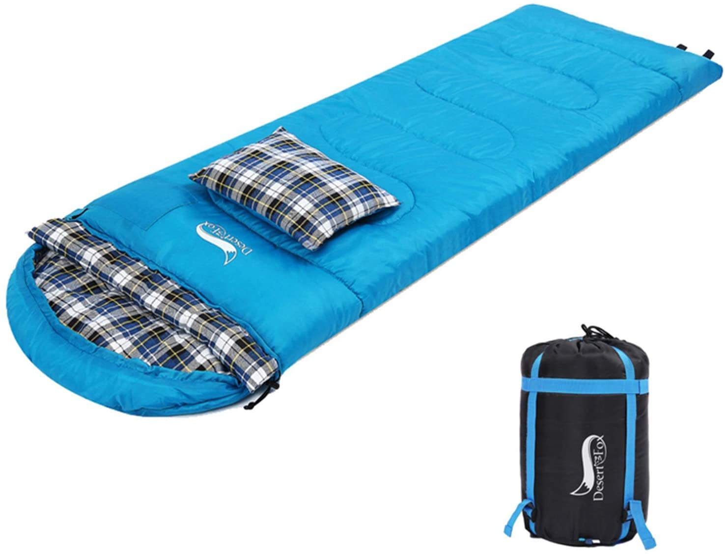 DESERT & FOX Cotton Flannel Sleeping Bags with Pillow, 4 Season Warm & Cold Weather Envelope Compression Sack, Lightweight & Portable Backpacking Sleeping Bag for Outdoor Camping, Hiking, Traveling
