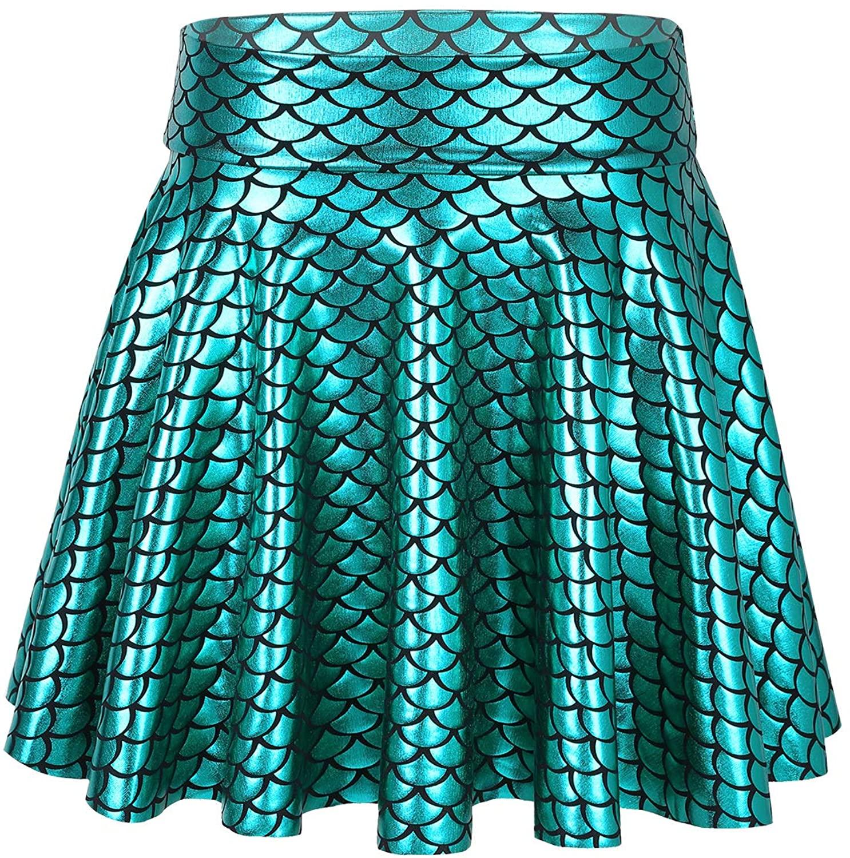 TiaoBug Girls Shiny Metallic Fish Scale Printes Flared Skater Skirt Mermaid Princess Dresses Ballet Tutu Skirt