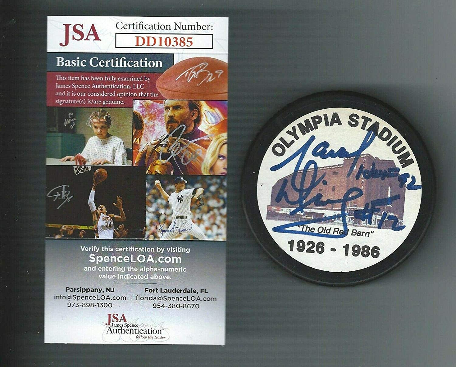 Marcel Dionne Signed Hockey Puck - Olympia Stadium Authenticated - JSA Certified - Autographed NHL Pucks