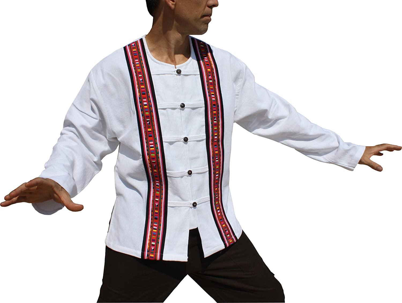 RaanPahMuang Long Sleeve Cotton Handcrafted Open Collar Wood Button Shirt