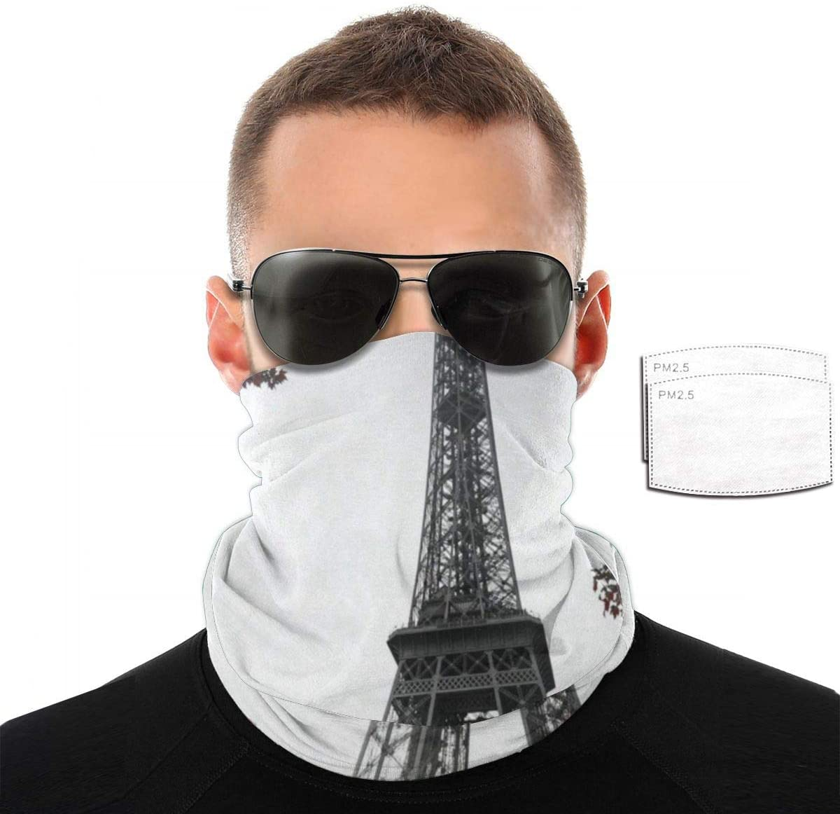 N\ A Red Tree and Eiffel Towel face mask Bandana Filters uv Sun Anti dust Half bavaclava face Cover Multifunctional Scarf Neck Gaiters for Summer Women Men