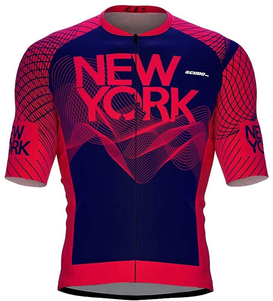 ScudoPro Pro-Elite Short Sleeve Cycling Jersey New York USA State Icon Landmark Symbol Identity for Men