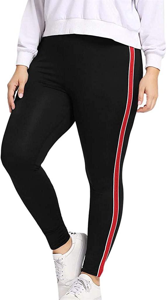 ZEFOTIM High Waist Yoga Leggings, Women Plus Size Sequined Elastic Fitness Sports Leggings Yoga Athletic Pants