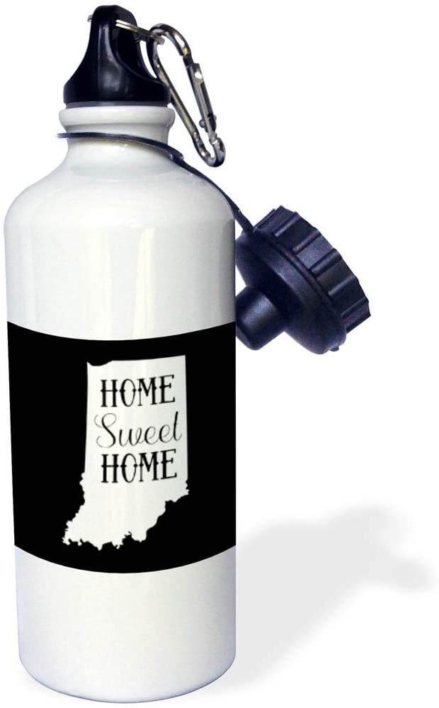 3dRose Stamp City - Typography - Home Sweet Home Inside The State of Indiana. Black Background. - 21 oz Sports Water Bottle (wb_323994_1)